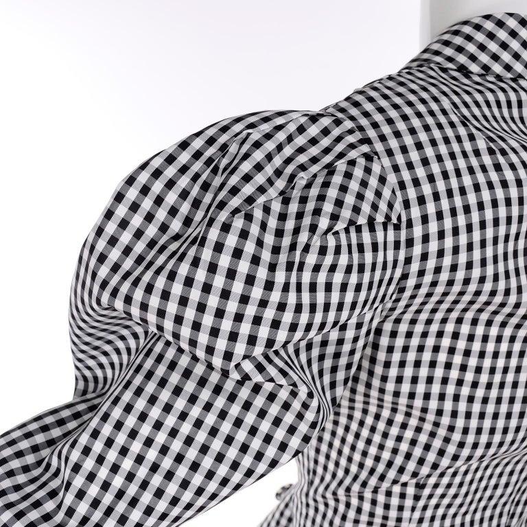 1980s Norma Kamali 2 Pc Victorian Dress in Black & White Checked Taffeta For Sale 2