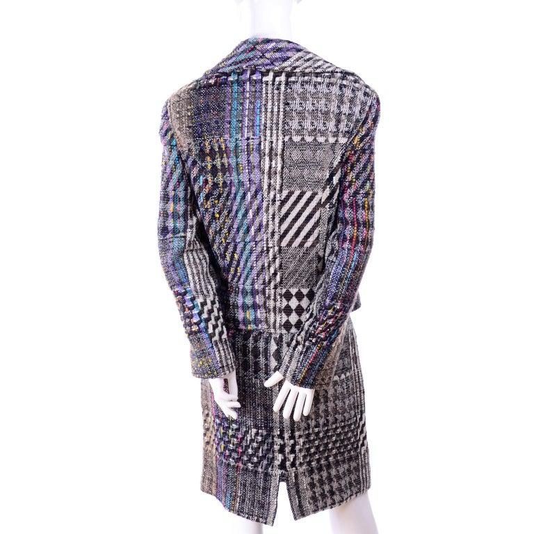 1990s Christian Lacroix Vintage Colorful Mixed Plaid Skirt & Jacket Suit Size 42 For Sale 2