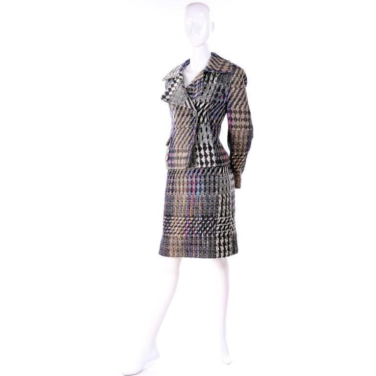 Black 1990s Christian Lacroix Vintage Colorful Mixed Plaid Skirt & Jacket Suit Size 42 For Sale