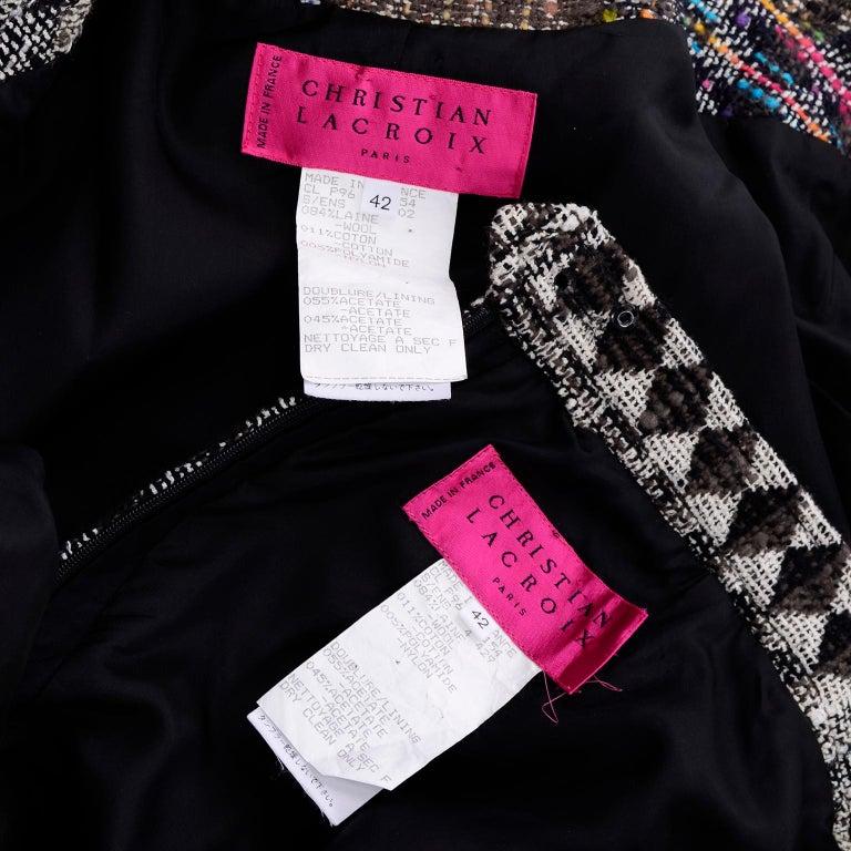1990s Christian Lacroix Vintage Colorful Mixed Plaid Skirt & Jacket Suit Size 42 For Sale 5