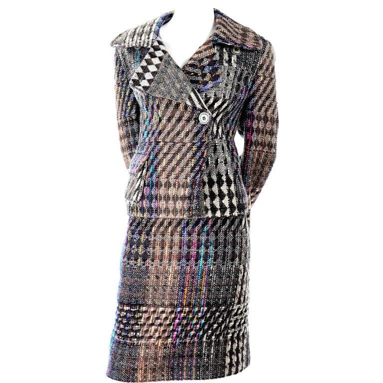 1990s Christian Lacroix Vintage Colorful Mixed Plaid Skirt & Jacket Suit Size 42 For Sale 6