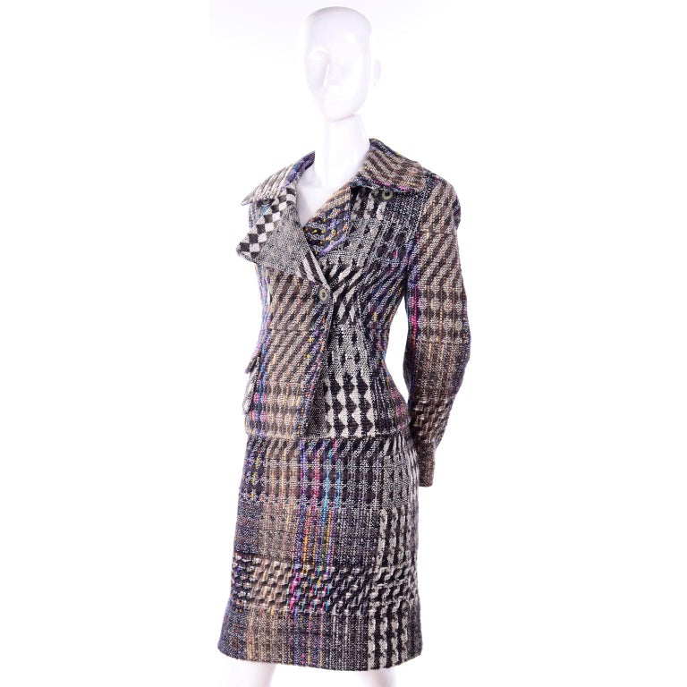1990s Christian Lacroix Vintage Colorful Mixed Plaid Skirt & Jacket Suit Size 42 In Excellent Condition For Sale In Portland, OR