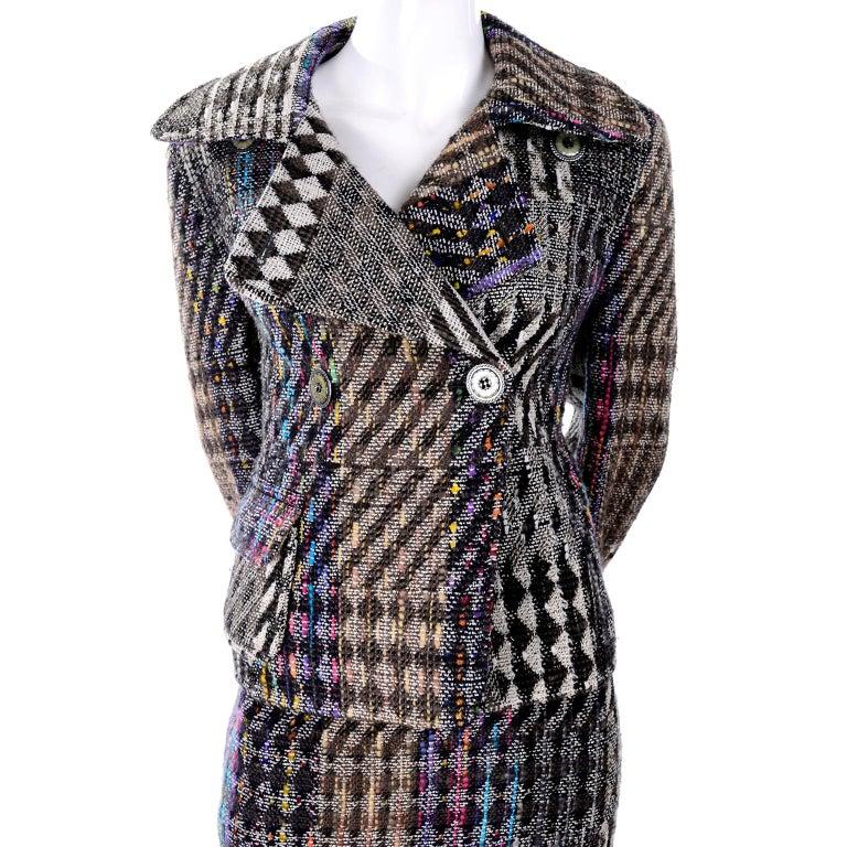 1990s Christian Lacroix Vintage Colorful Mixed Plaid Skirt & Jacket Suit Size 42 For Sale 4