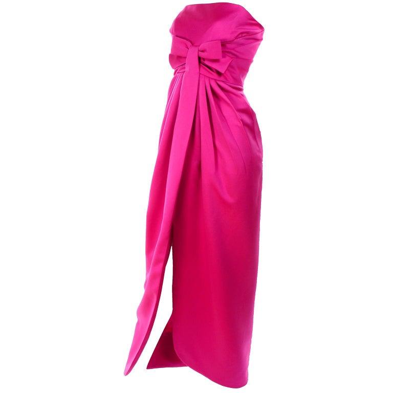 Vintage Victor Costa Shocking Pink Strapless Dress W/ Cropped Bolero Jacket For Sale