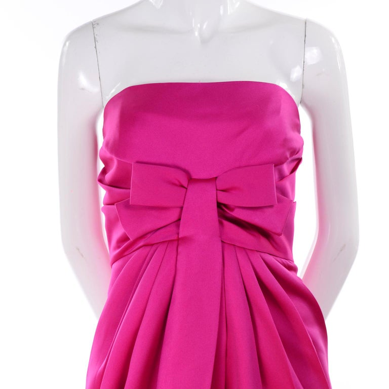 Vintage Victor Costa Shocking Pink Strapless Dress W/ Cropped Bolero Jacket In Excellent Condition For Sale In Portland, OR