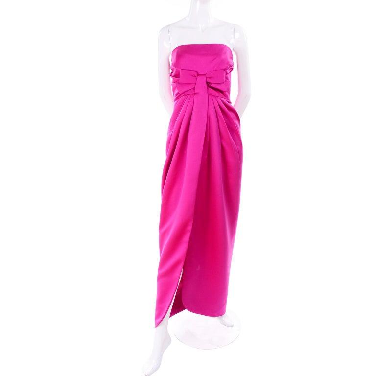 Vintage Victor Costa Shocking Pink Strapless Dress W/ Cropped Bolero Jacket For Sale 1