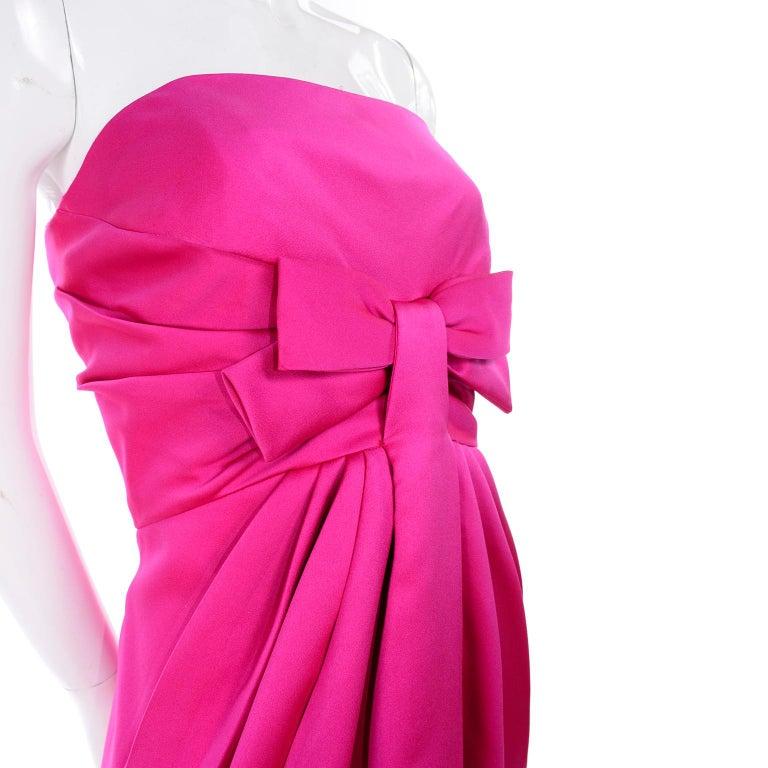 Vintage Victor Costa Shocking Pink Strapless Dress W/ Cropped Bolero Jacket For Sale 2