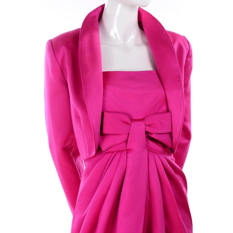 Vintage Victor Costa Shocking Pink Strapless Dress W/ Cropped Bolero Jacket For Sale 3