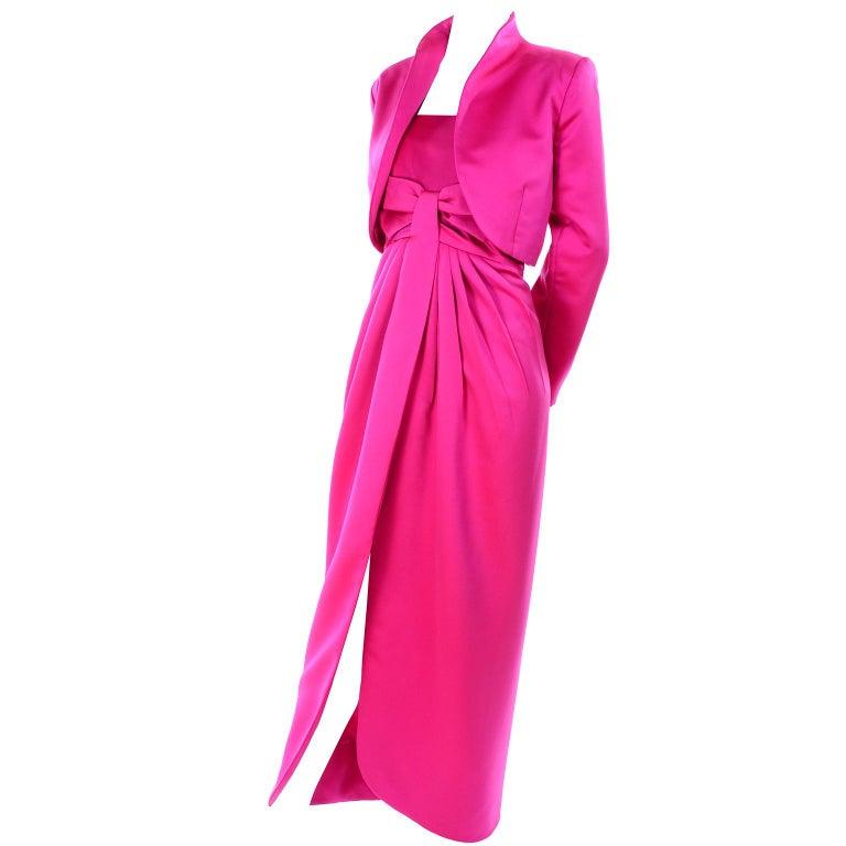 Vintage Victor Costa Shocking Pink Strapless Dress W/ Cropped Bolero Jacket For Sale 8