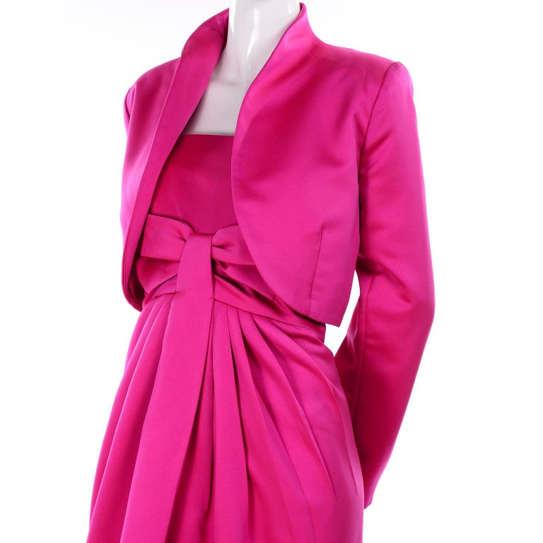 Vintage Victor Costa Shocking Pink Strapless Dress W/ Cropped Bolero Jacket For Sale 4