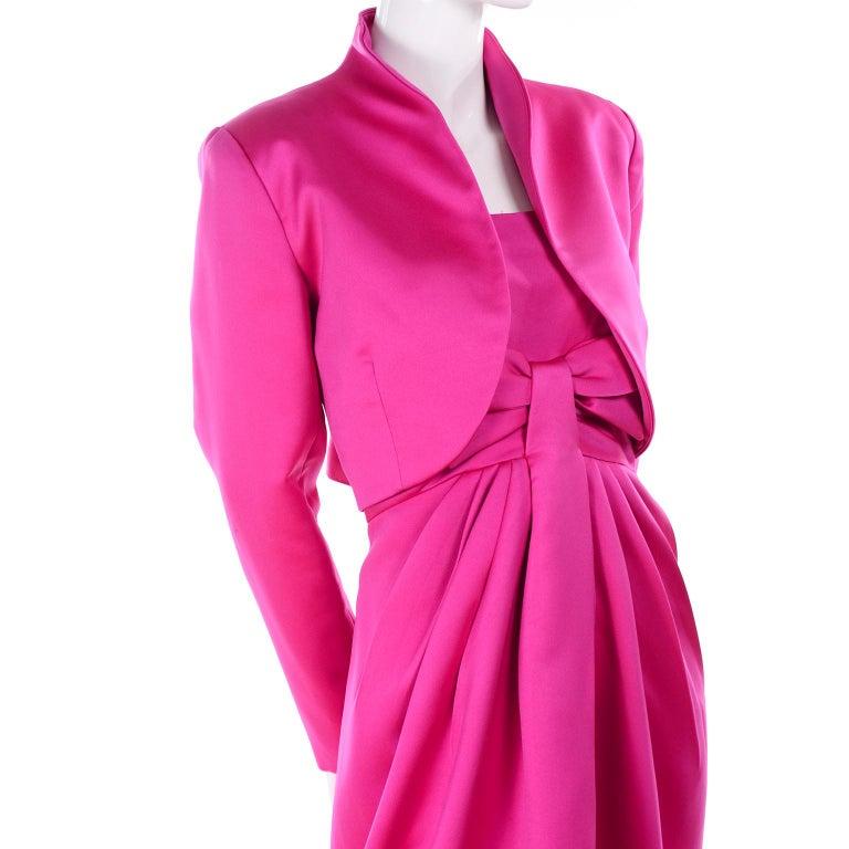 Women's Vintage Victor Costa Shocking Pink Strapless Dress W/ Cropped Bolero Jacket For Sale