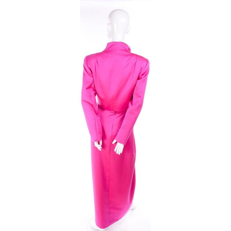 Vintage Victor Costa Shocking Pink Strapless Dress W/ Cropped Bolero Jacket For Sale 5