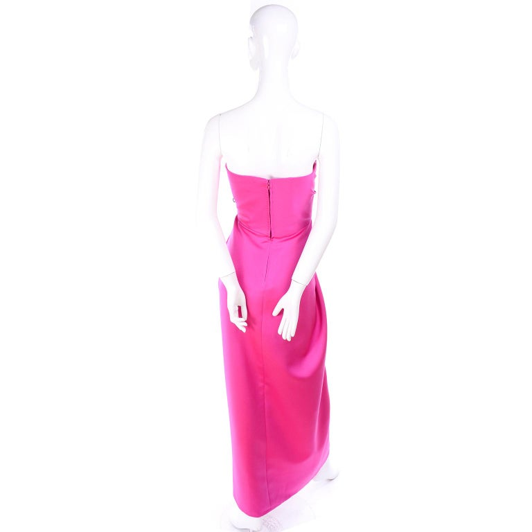 Vintage Victor Costa Shocking Pink Strapless Dress W/ Cropped Bolero Jacket For Sale 6