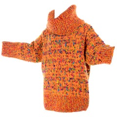 1980s Dramatic Oversized Vintage Sweater in Colorful Mohair Blend by Anne Klein