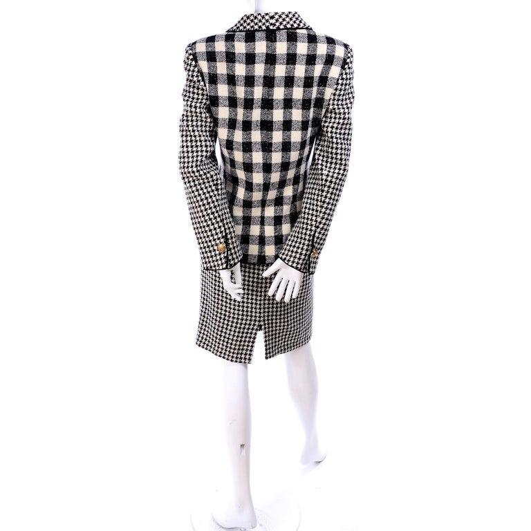 Emanuel Ungaro Vintage Black Plaid & Houndstooth Check Wool Skirt & Jacket Suit For Sale 5