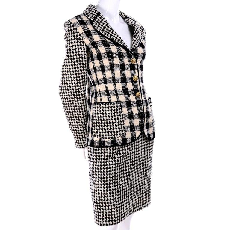 Emanuel Ungaro Vintage Black Plaid & Houndstooth Check Wool Skirt & Jacket Suit For Sale 2