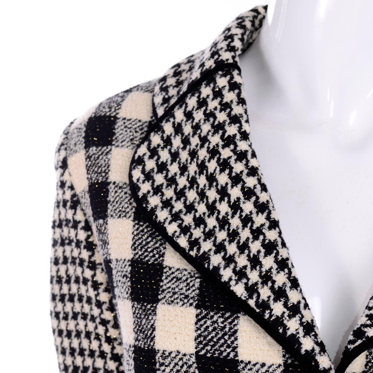 Emanuel Ungaro Vintage Black Plaid & Houndstooth Check Wool Skirt & Jacket Suit In Excellent Condition For Sale In Portland, OR