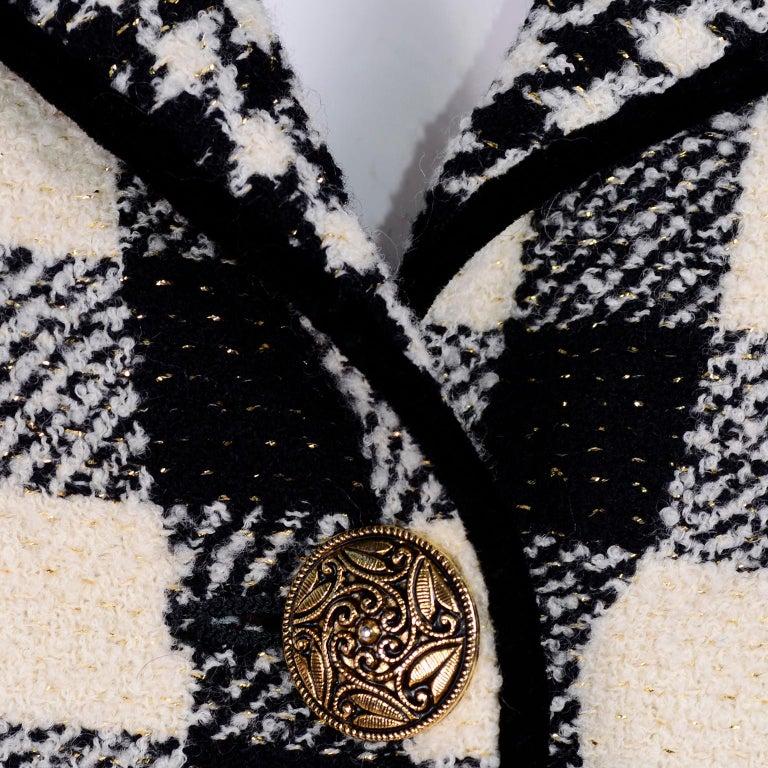 Emanuel Ungaro Vintage Black Plaid & Houndstooth Check Wool Skirt & Jacket Suit For Sale 1