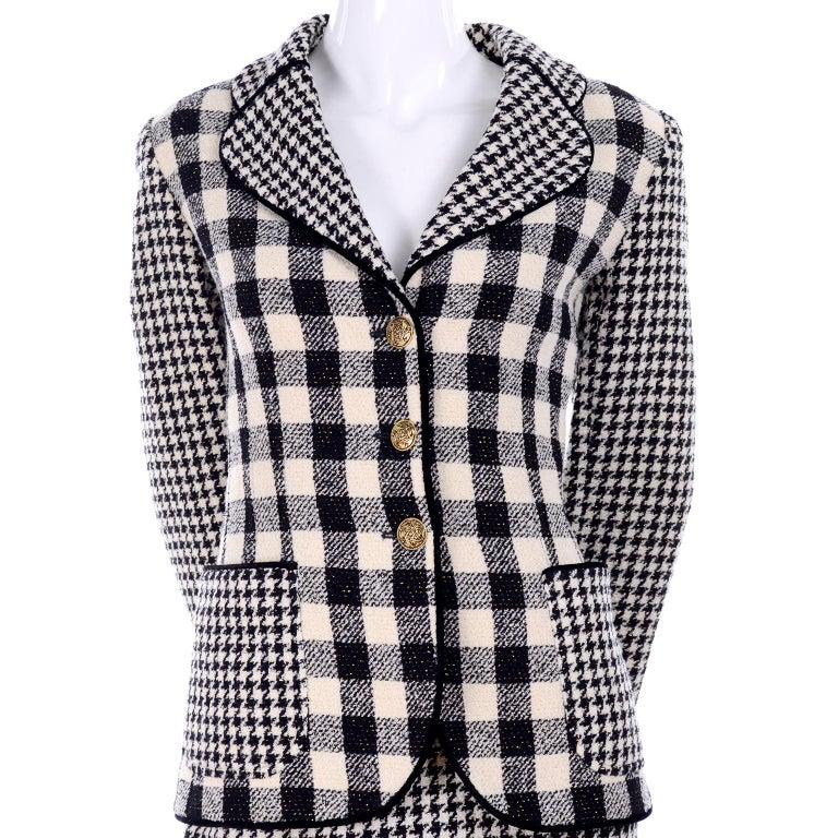 Emanuel Ungaro Vintage Black Plaid & Houndstooth Check Wool Skirt & Jacket Suit For Sale 3