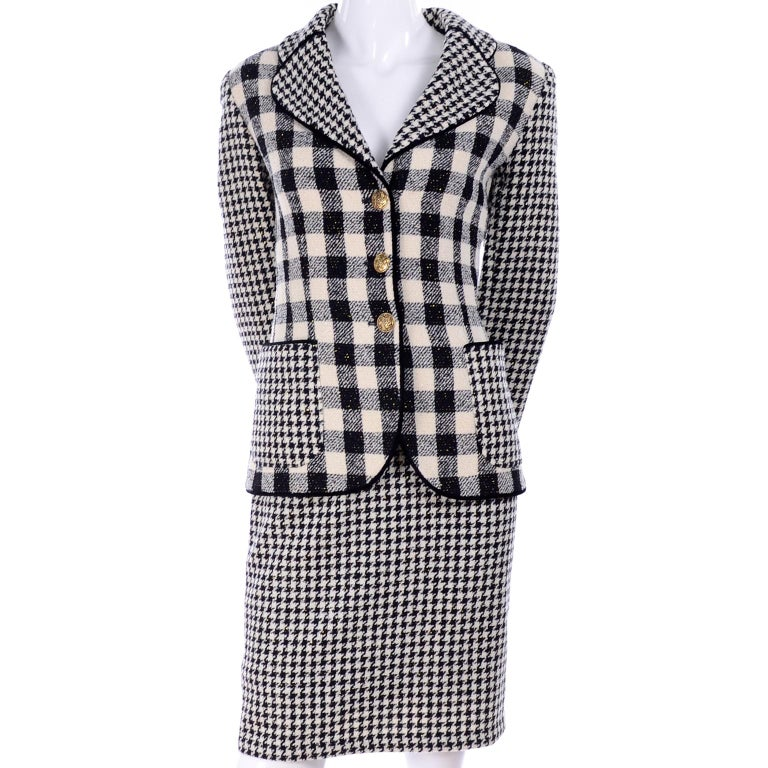 Women's Emanuel Ungaro Vintage Black Plaid & Houndstooth Check Wool Skirt & Jacket Suit For Sale