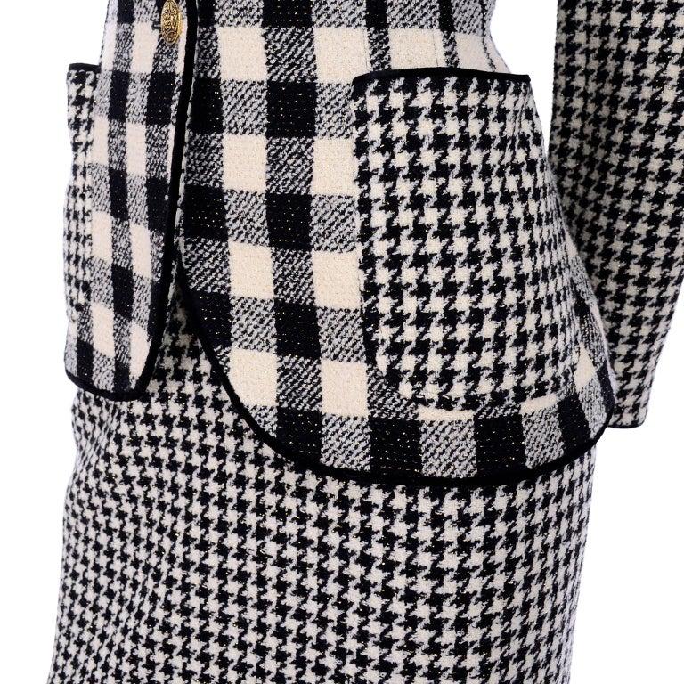 Emanuel Ungaro Vintage Black Plaid & Houndstooth Check Wool Skirt & Jacket Suit For Sale 4