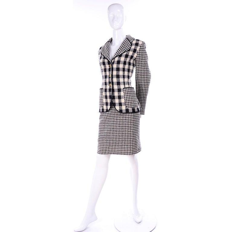 Emanuel Ungaro Vintage Black Plaid & Houndstooth Check Wool Skirt & Jacket Suit For Sale 8
