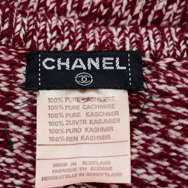 Vintage Chanel Cardigan Sweater in Burgundy & White Cashmere with Pockets For Sale 3