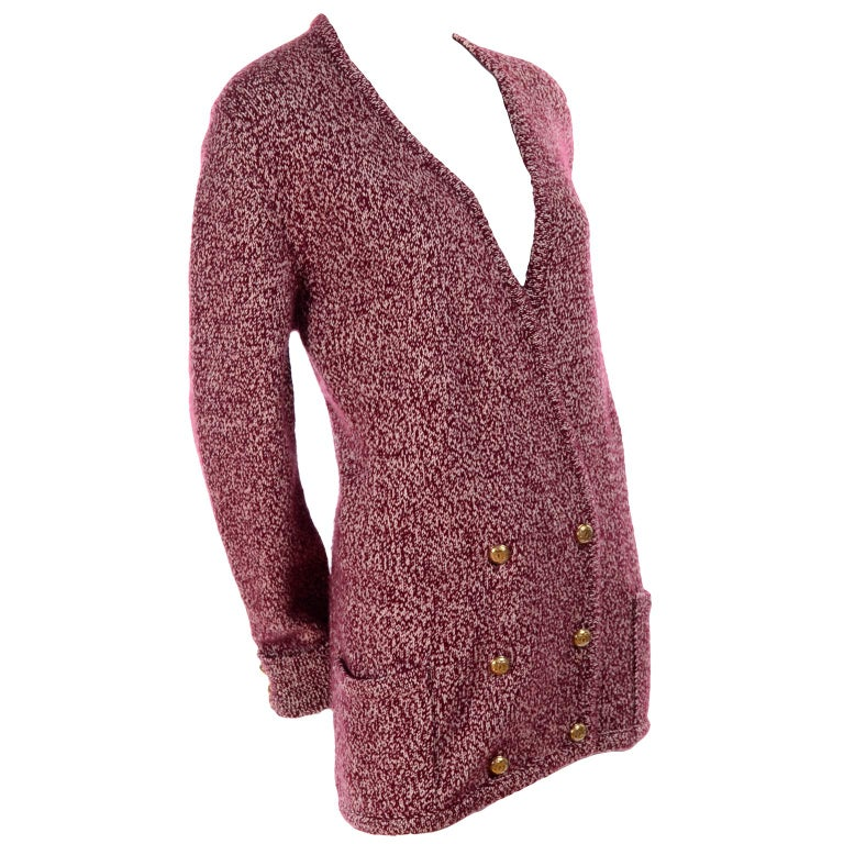 Vintage Chanel Cardigan Sweater in Burgundy & White Cashmere with Pockets For Sale 5