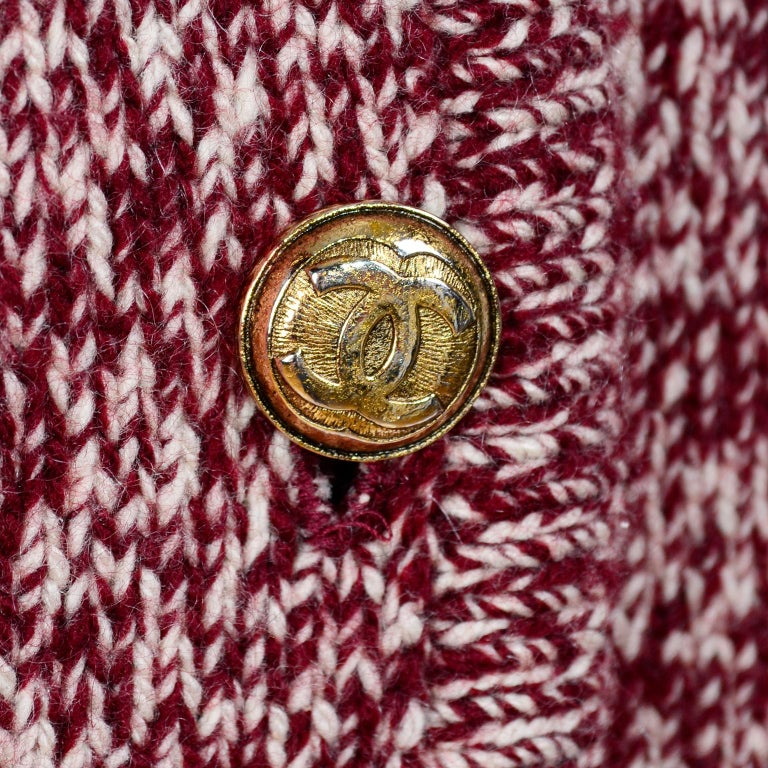 Women's Vintage Chanel Cardigan Sweater in Burgundy & White Cashmere with Pockets For Sale