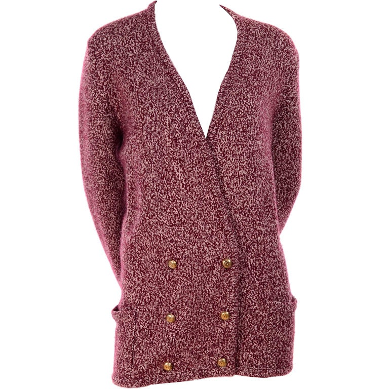 Vintage Chanel Cardigan Sweater in Burgundy & White Cashmere with Pockets For Sale