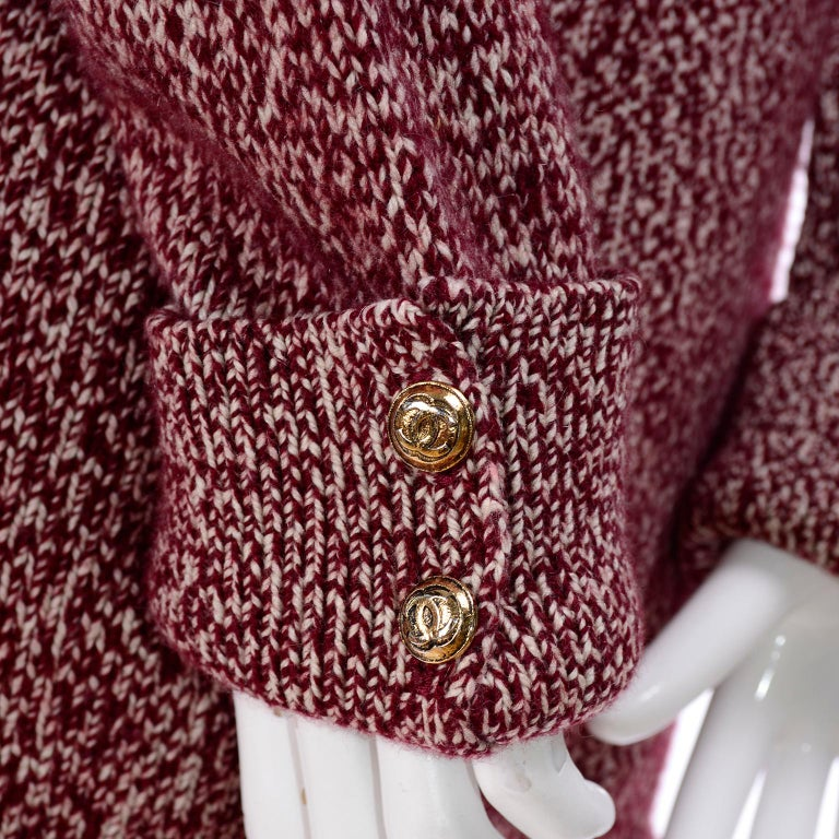 Vintage Chanel Cardigan Sweater in Burgundy & White Cashmere with Pockets For Sale 1