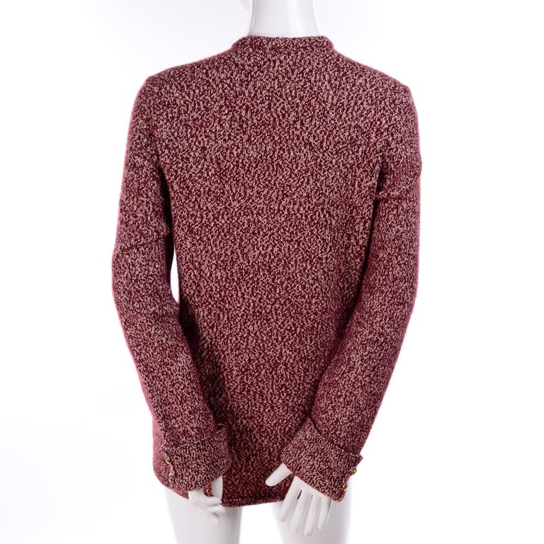 Vintage Chanel Cardigan Sweater in Burgundy & White Cashmere with Pockets For Sale 2