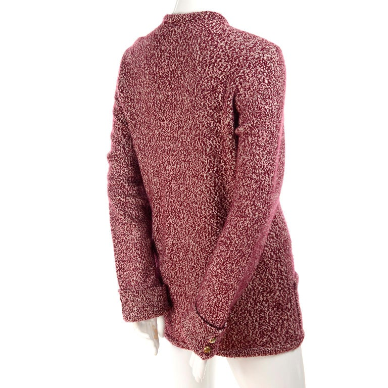 Vintage Chanel Cardigan Sweater in Burgundy & White Cashmere with Pockets For Sale 4