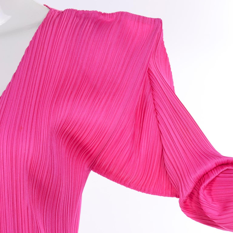 Vintage Hot Pink Issey Miyake Avant Garde Pleated Skirt and Cardigan Top For Sale 1