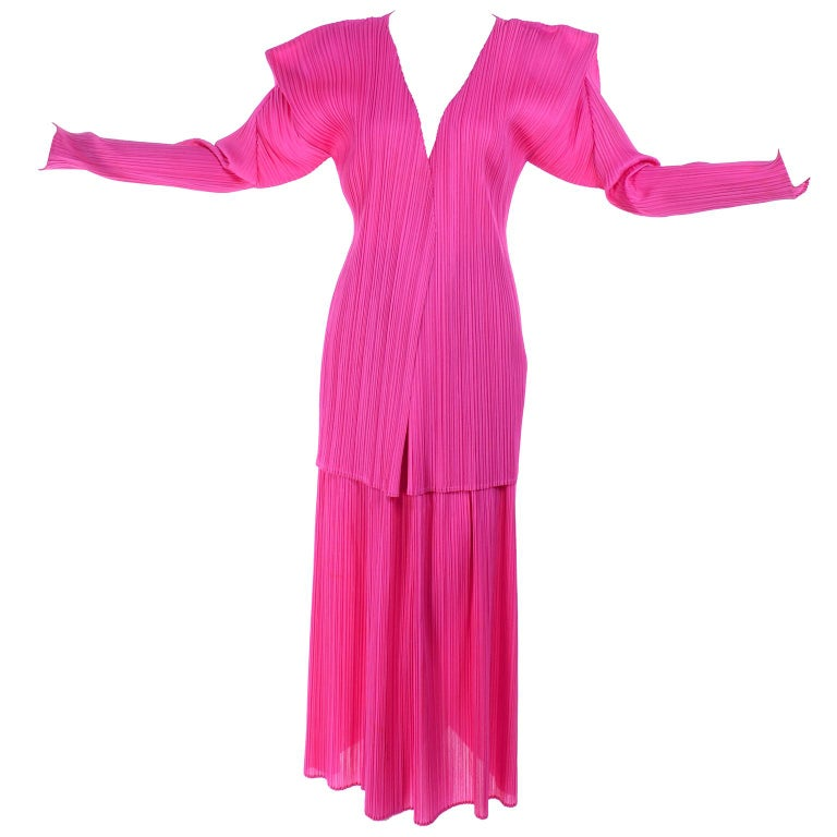 Vintage Hot Pink Issey Miyake Avant Garde Pleated Skirt and Cardigan Top For Sale