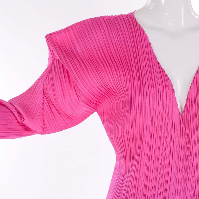 Vintage Hot Pink Issey Miyake Avant Garde Pleated Skirt and Cardigan Top For Sale 3