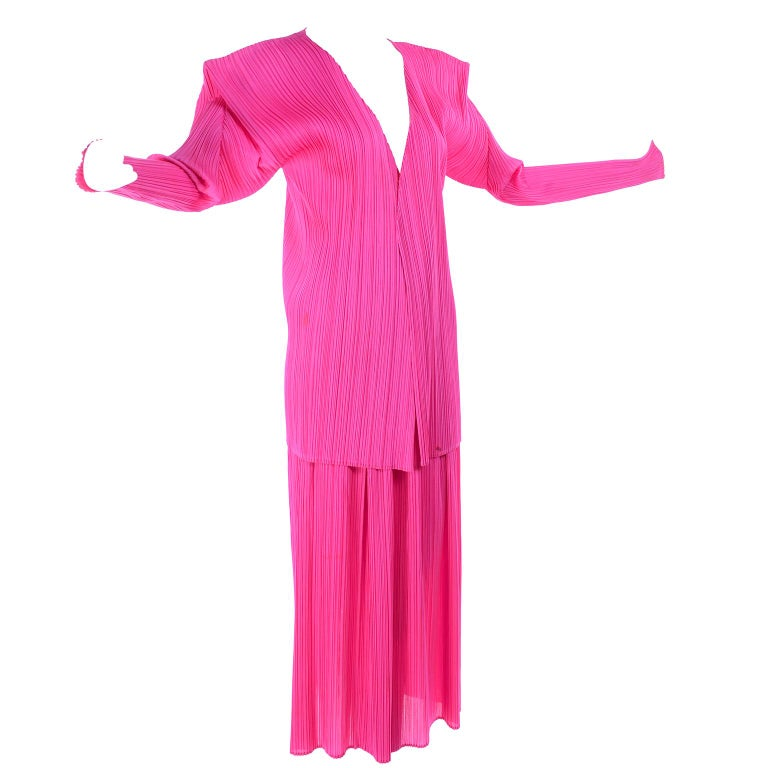 Vintage Hot Pink Issey Miyake Avant Garde Pleated Skirt and Cardigan Top For Sale 6