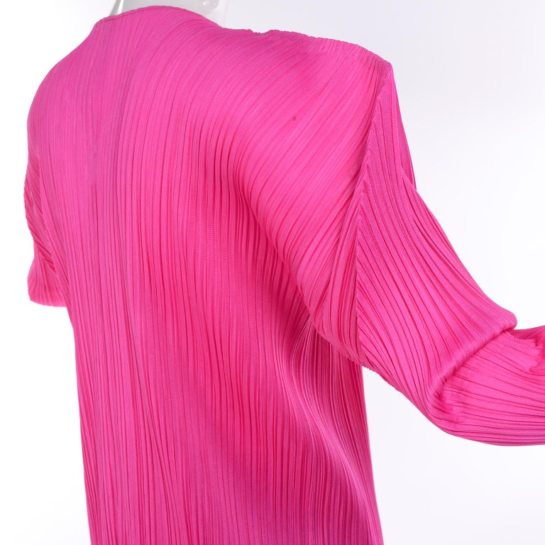 Vintage Hot Pink Issey Miyake Avant Garde Pleated Skirt and Cardigan Top For Sale 4