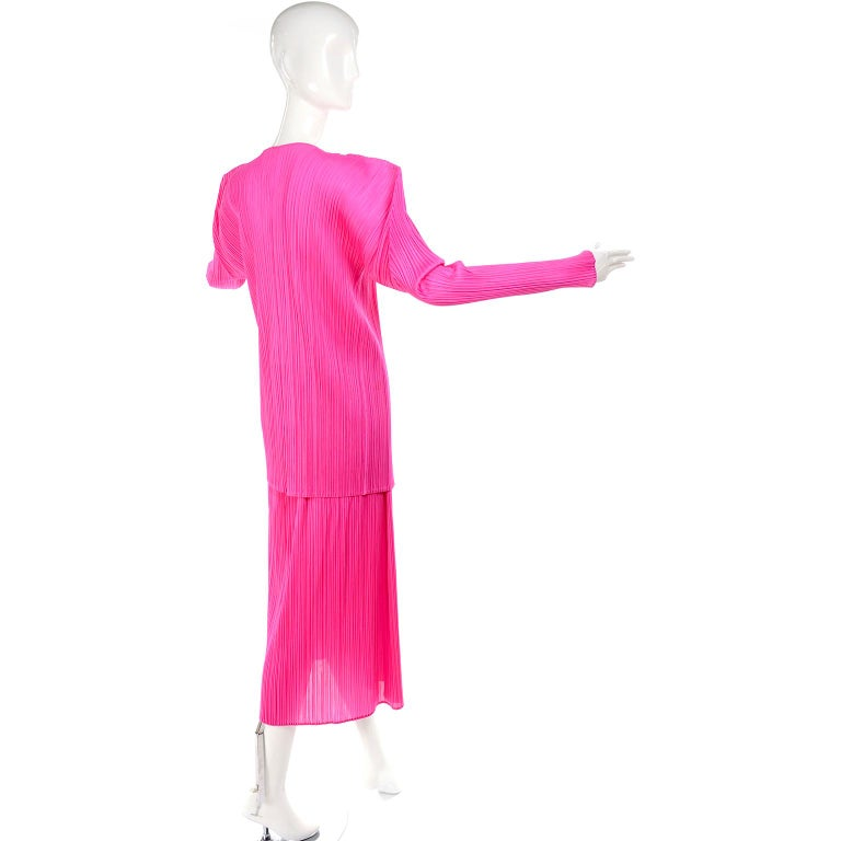 Vintage Hot Pink Issey Miyake Avant Garde Pleated Skirt and Cardigan Top For Sale 5