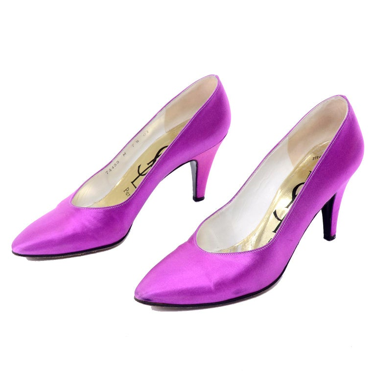 Women's Purple Satin YSL Yves Saint Laurent Vintage Pumps 1990s Shoes w/ 3