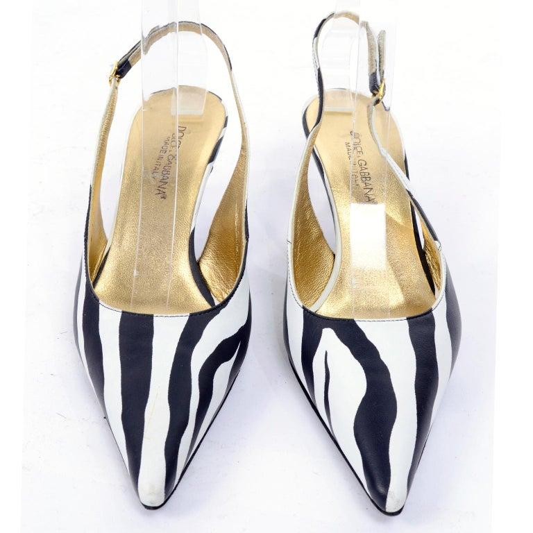 3c77b0e10250d Dolce & Gabbana Zebra Stripe Shoes Vintage Sling Back Kitten Heels in Size  38