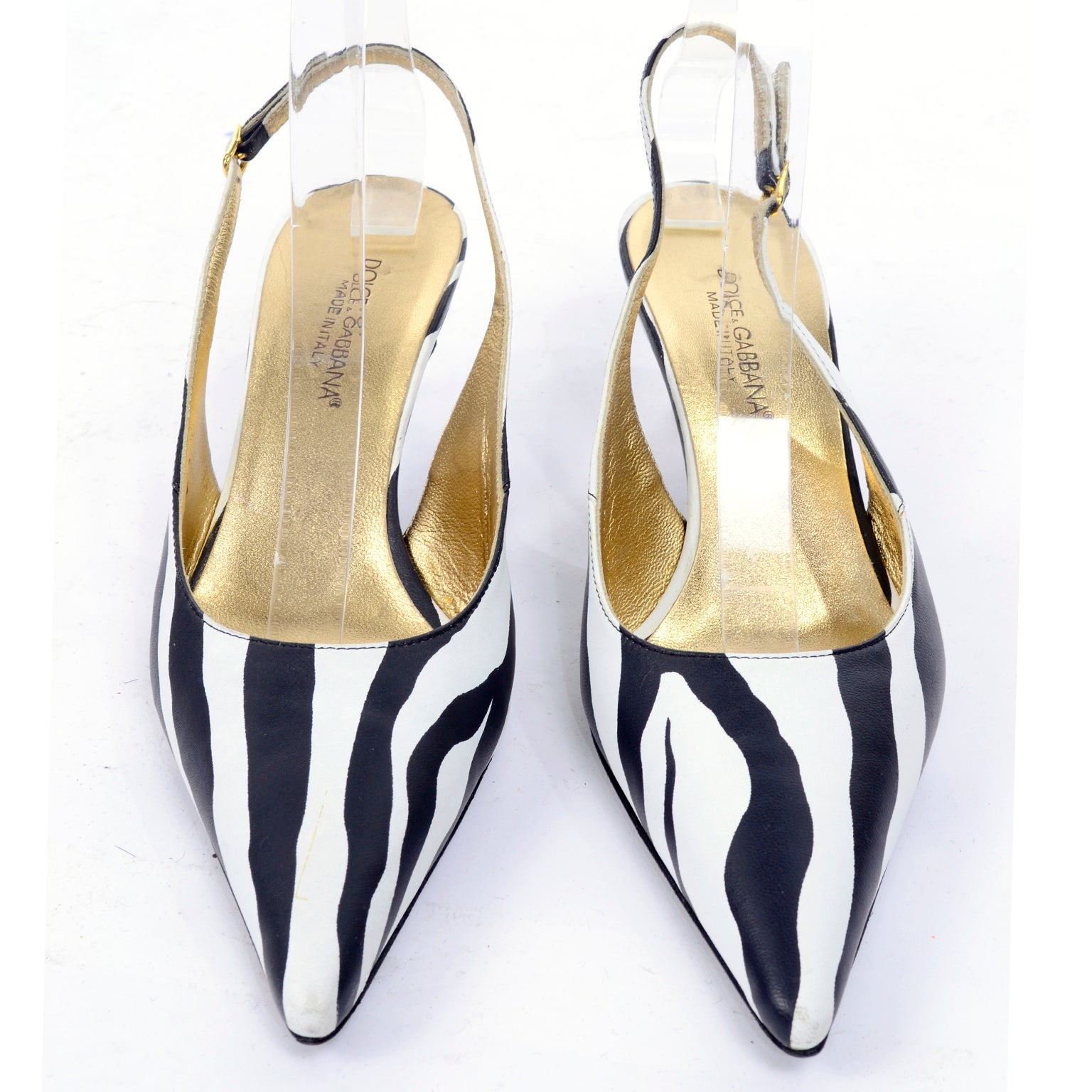 aaedea669 Dolce and Gabbana Zebra Stripe Shoes Vintage Sling Back Kitten Heels in  Size 38 For Sale at 1stdibs