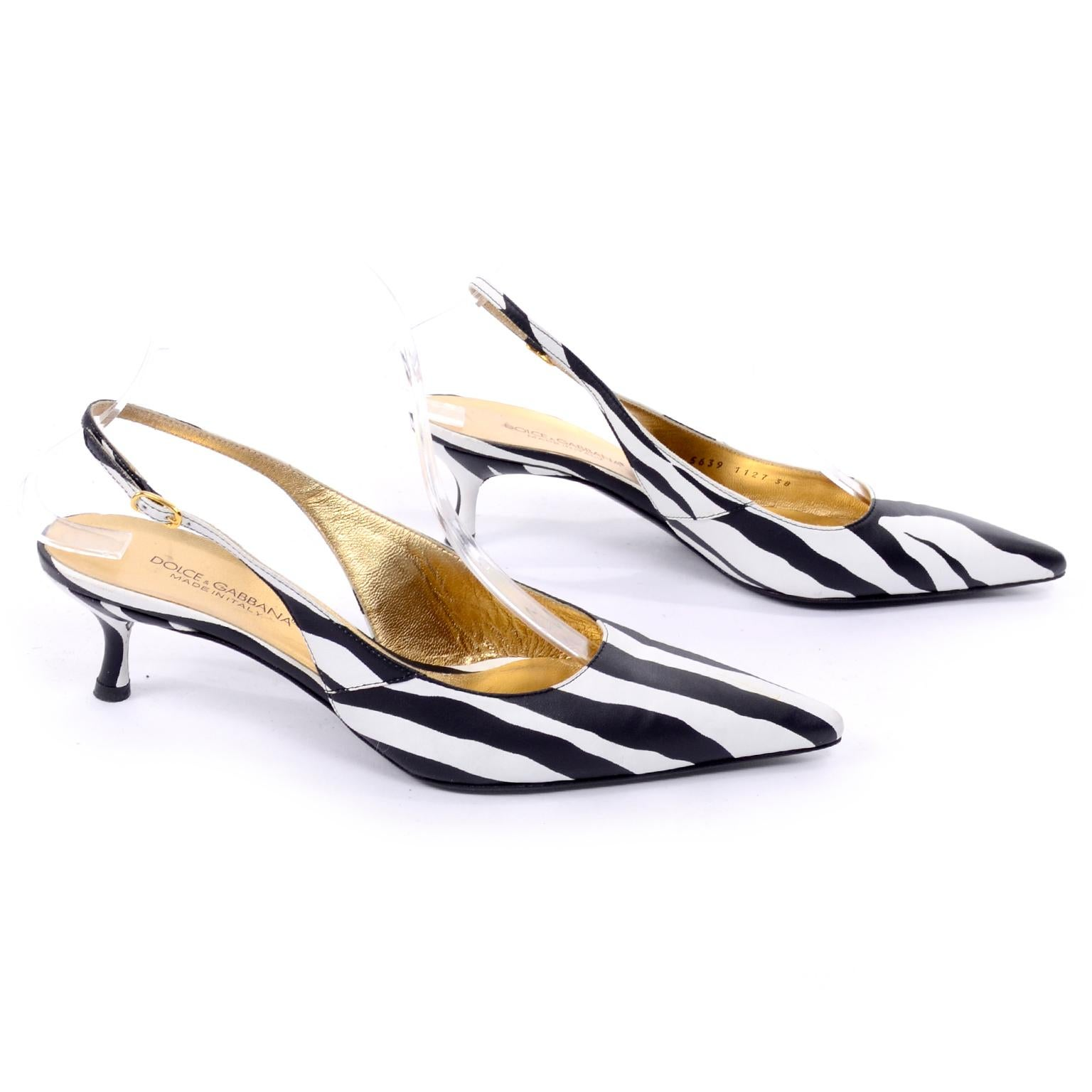 27a092896bc Dolce and Gabbana Zebra Stripe Shoes Vintage Sling Back Kitten Heels in Size  38 For Sale at 1stdibs