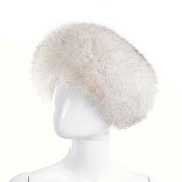 Beige Rare James McQuay Furrier Vintage Fox Fur Hat Made in New York For Sale