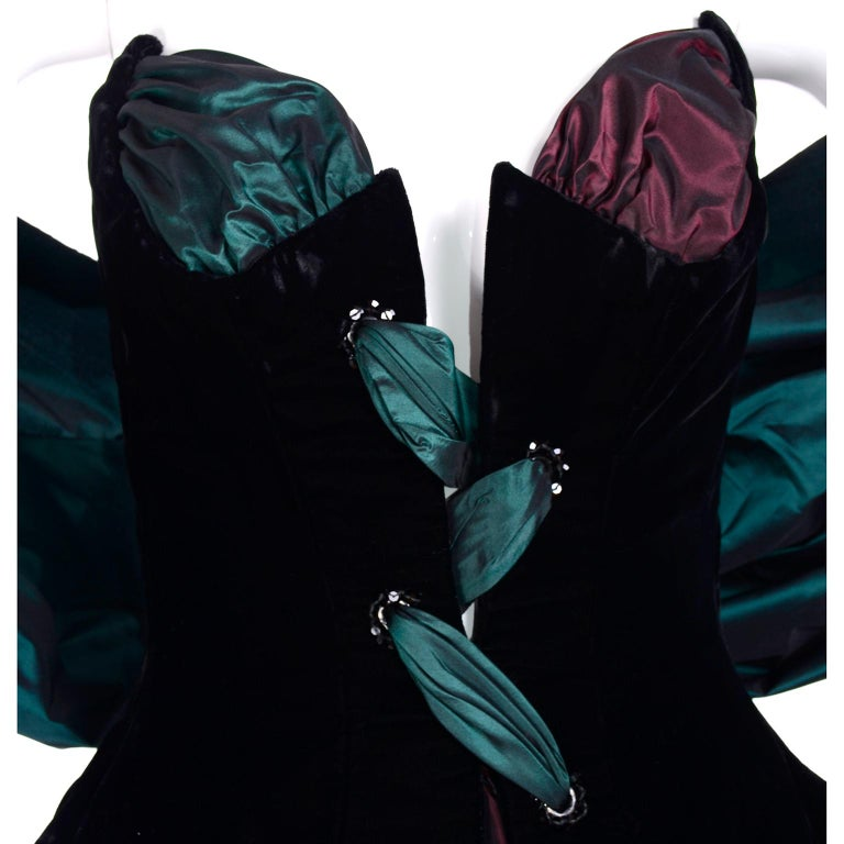Women's Bob Mackie Green & Wine Velvet & Taffeta Vintage Plunging Corset Dress & Wrap For Sale