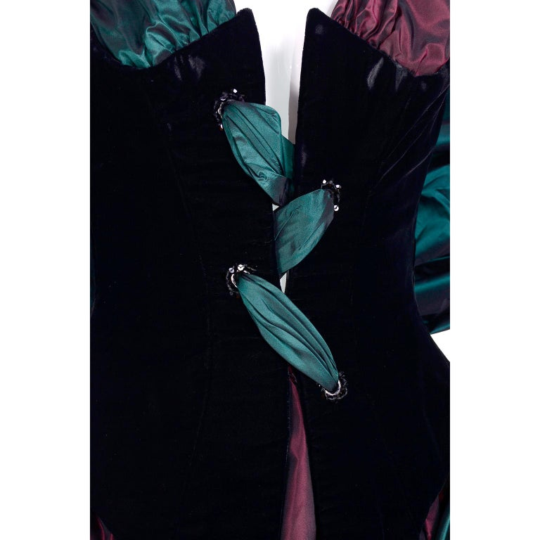 Bob Mackie Green & Wine Velvet & Taffeta Vintage Plunging Corset Dress & Wrap For Sale 5