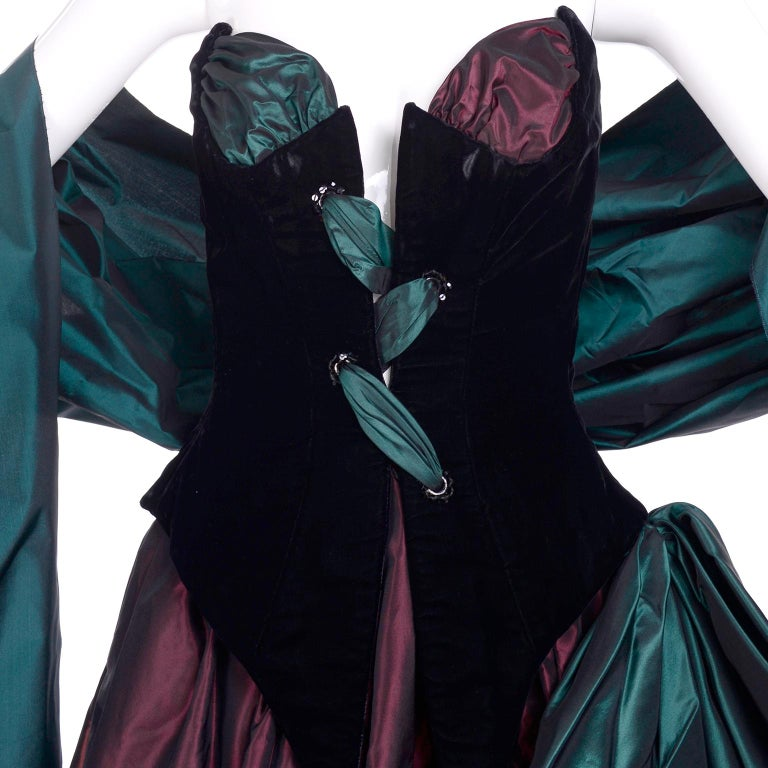 Bob Mackie Green & Wine Velvet & Taffeta Vintage Plunging Corset Dress & Wrap For Sale 7