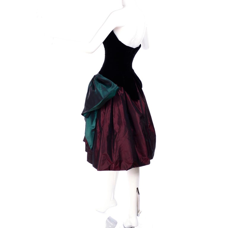 Bob Mackie Green & Wine Velvet & Taffeta Vintage Plunging Corset Dress & Wrap For Sale 9