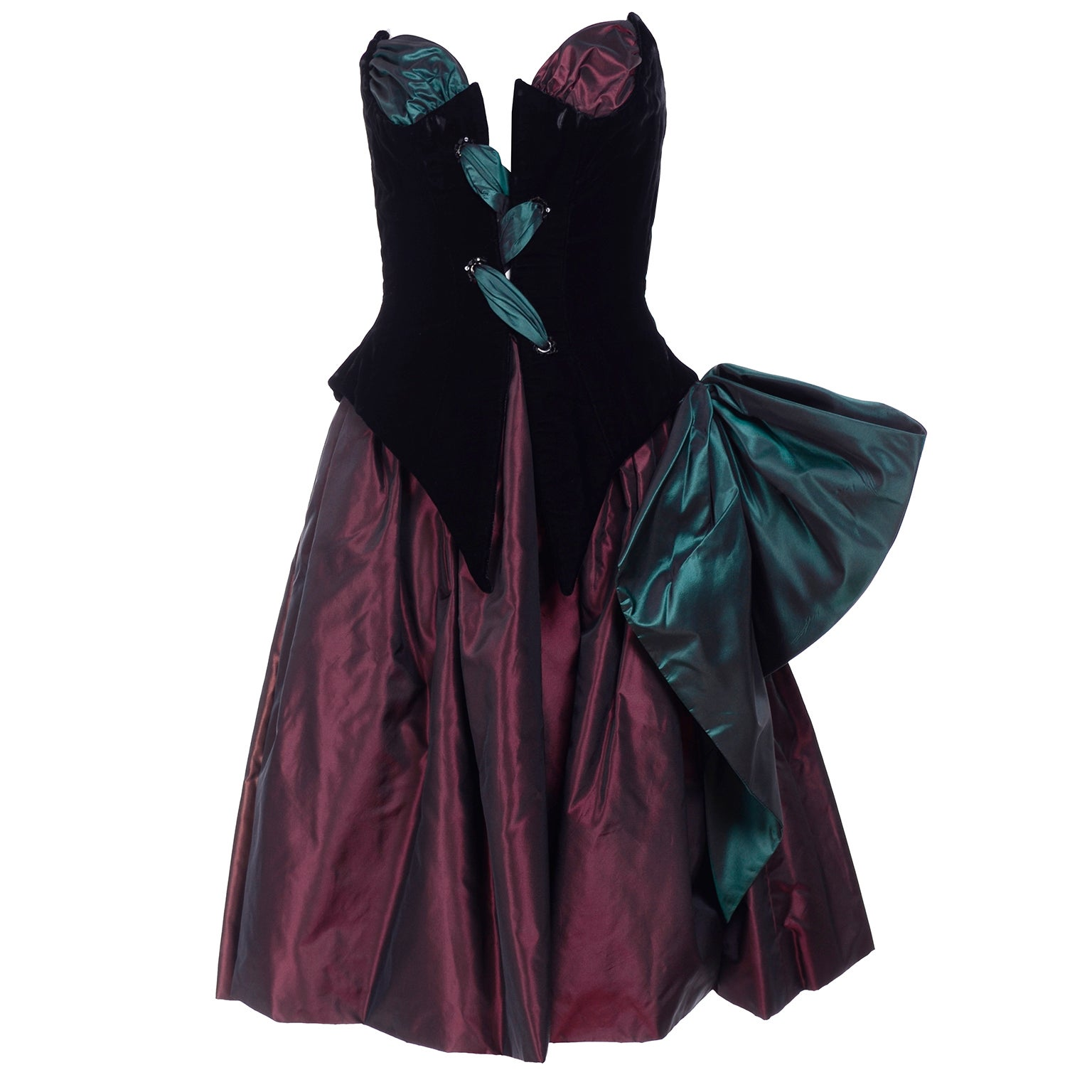 Bob Mackie Green & Wine Velvet & Taffeta Vintage Plunging Corset Dress & Wrap