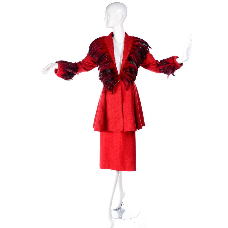 Simon Copeland London Fashion Designer Bespoke Red Skirt & Feather Jacket Suit  In Excellent Condition For Sale In Portland, OR